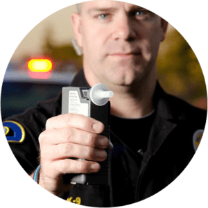 officer with the breath testing equipment